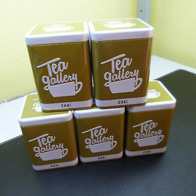 LOT OF 5 NIB & EMPTY TEA TIN CANS w/ LID TO STORE SPICES, TEA, or TRINKET CAN