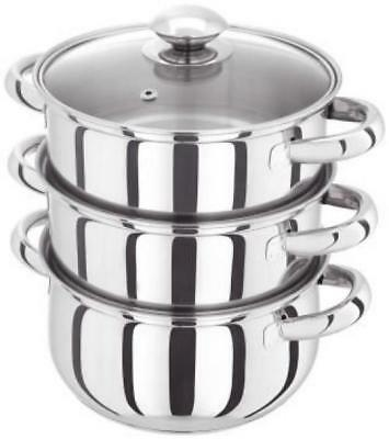 Judge HX02 18 cm 3-Tier Steamer Set with Glass Lid Stainless Steel