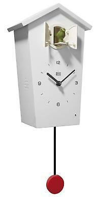 KOOKOO BirdHouse white wall clock with 12 natural bird voices field...