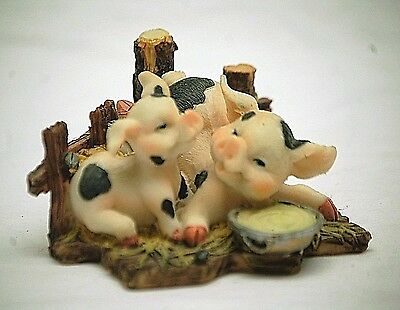 Whimsical Resin Piglets in Pig Pen w Bowl of Slop Figurine Country Farm Animal