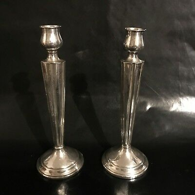 LSNR Antique Art Deco Sterling Silver Candlesticks 282 Grams