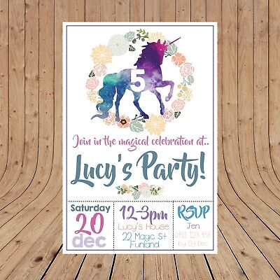Personalised UNICORN Kids Party Invitations Invites DIGITAL - YOU PRINT -