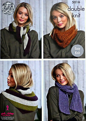 KNITTING PATTERN Ladies EASY KNIT Scarf Shawl and Snood DK King Cole 5016