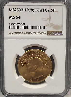 MS2537(1978) IRAN Gold 2.5 pahlavi NGC MS64