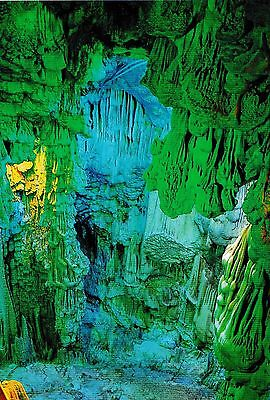 postcard post card Reed Flute Cave Guilin Guangxi China Waterfalls of canyon