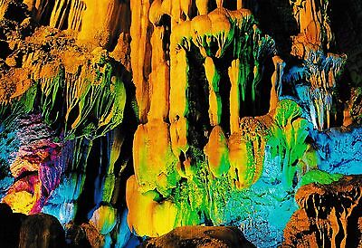 postcard post card Reed Flute Cave Guilin Guangxi China Flower Fruit mountain