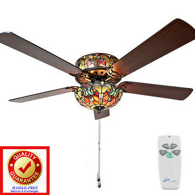 Tiffany Style Stained Glass Halston Ceiling Fan w/ Remote Control - 52in 5 Blade