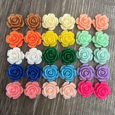 30x 16mm Mixed Colour Resin Rose Cabochon Embellishments Flatback Craft
