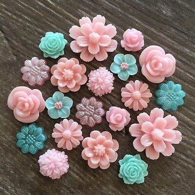 20 Light Pink Green Mint Rose Flower Resin Cabochon Flatback Embellishment DIY