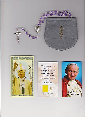 Glass Lavendar Rosary Blessed by Pope Saint John Paul II with Papal Crucifix on