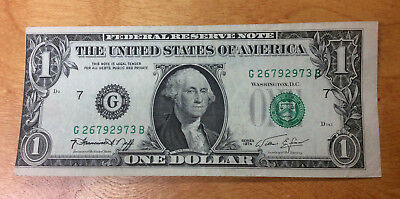 1974 $1 Major Printing Error From The Federal Reserve Bank Chicago, Illinois