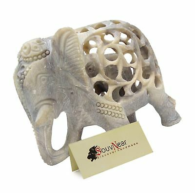 SouvNear Statue - Mom and Me - Mother Elephant with Baby Inside - 5 Inch Ston...