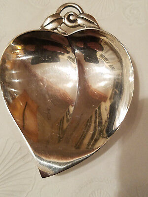 Tiffany & Co Makers Sterling Silver Heart Shaped Dish with Leaf Handle