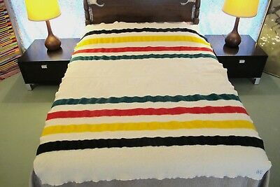 Well Used Pendleton Glacier National Park Wool Striped Blanket