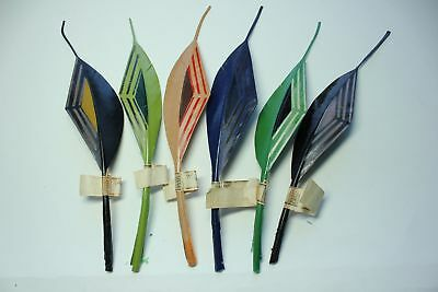 Vintage 1920s NOS feather millinery hat trim: Painted quill fancies. 3387.