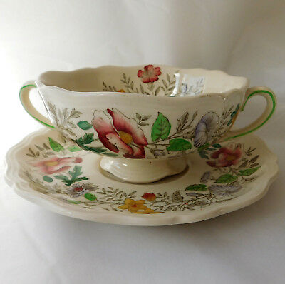 Royal Doulton Stratford soup cup and plate bowl saucer stand vintage tableware