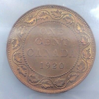 1920 Canada One 1 Cent ICCS Graded Large Red Brown Penny Circulated Coin B918