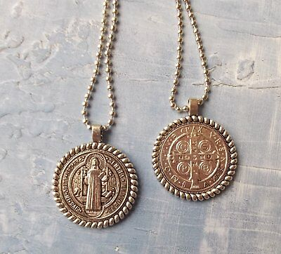 San Benito Medal~St Saint Benedict Large Pendant with border and Chain/card