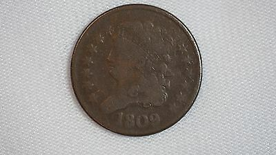 1809 Half Cent Copper US Coin - 1/2C