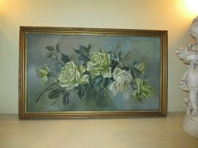 Shabby Chic Vintage Original 1940's  Yellow Rose Framed Oil Painting