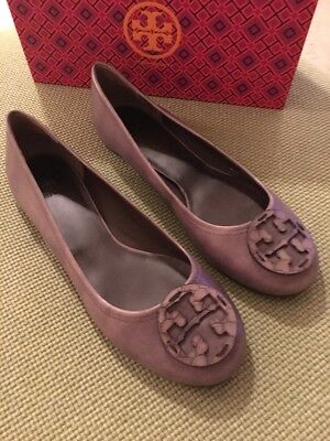 aa33deb107c Tory Burch RARE Taupe Embossed Reva Flats Sz 10.5 w  Box Retail  250 SOLD  OUT