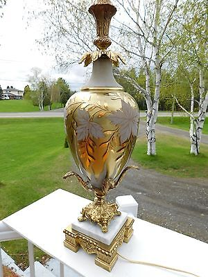 Beautiful Vintage Hollywood Regency Cased Glass Brass Marble Table Lamp Murano