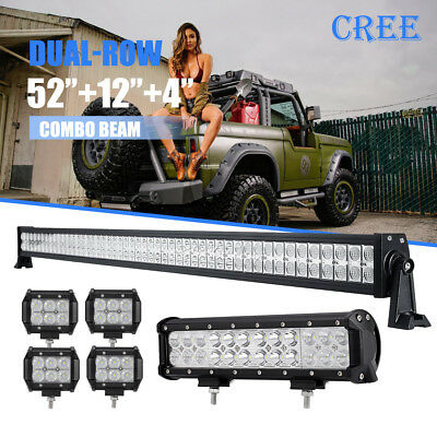"""20in 52Inch LED Light Bar Combo 4/"""" CREE PODS OFFROAD SUV 4WD ATV FORD JEEP 50"""