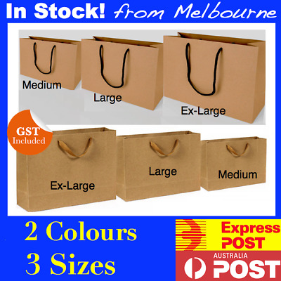 50-200 Brown Craft Paper Gift Carry Bags Medium Large Ex_Large With Handles