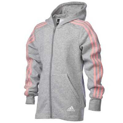 NEW adidas Girl's Essentials 3 Stripe Full Zip Hoody By Anaconda