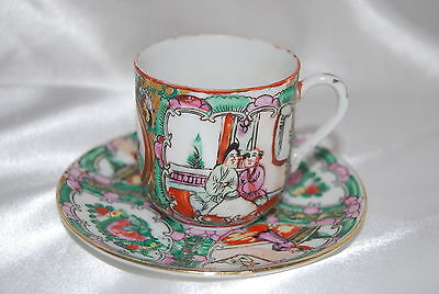 Vintage Delicate Japanese Hand Painted Teacup & Saucer Love Story Design