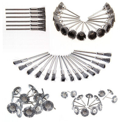 45pcs Stainless Steel Wire Cup Mix Brush Set Fits Dremel Rotary Tool Accessory