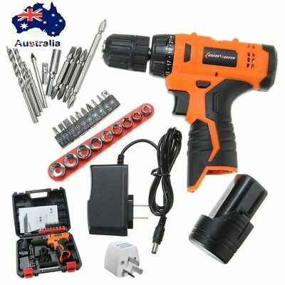 12V Li-Ion Cordless Electric Drill Driver Kit Tool Variable Speed With Bits Set