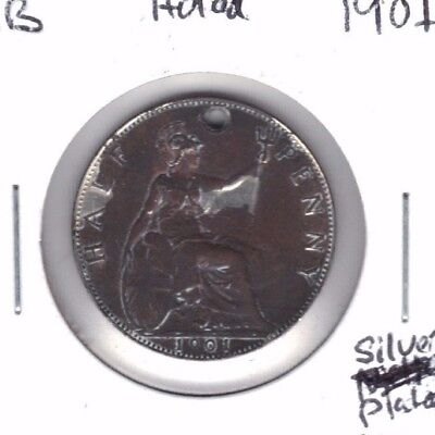 Great Britain 1901 Silver Plated Half Penny Coin