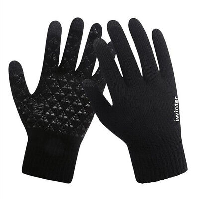 Men Male Warm Fleece Lined Thermal Knitted Gloves Touchscreen Winter Outdoor
