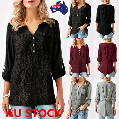 Plus Size Women V Neck 3/4 Sleeve T-Shirt Ladies Casual Loose Button Blouse Tops