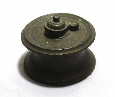 Rare Old Brass Finish Ink Pot With Cap Inkwell Decorative Collectible 03