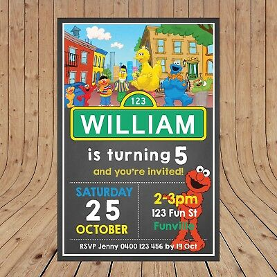 Personalised SESAME STREET ELMO Birthday Invitations Invites DIGITAL YOU PRINT