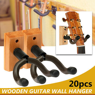 20x Wooden Base Guitar Hanger Stand Hook Holder Bracket Wall Mount Equip Fitting