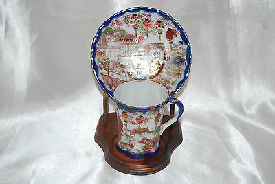 Vintage Delicate Japanese Hand Painted Teacup & Saucer With Stand - Rural Scenes