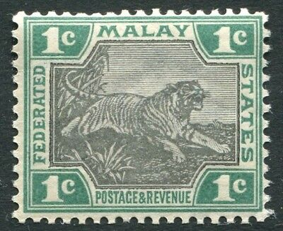 FEDERATED MALAY STATES-1900-01 1c Black & Green Sg 15 LIGHTLY MOUNTED MINT