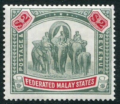 FEDERATED MALAY STATES-1926 $2 Green & Carmine Sg 78 LIGHTLY MOUNTED MINT V19840