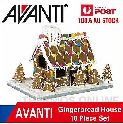 Brand New AVANTI Gingerbread House 10 Piece Set with Base Board RRP $29.99