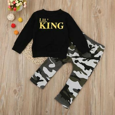 2pcs Toddler  Kids Boy Outfits Letter Tshirt Tops+Camouflage Pants Clothes Set