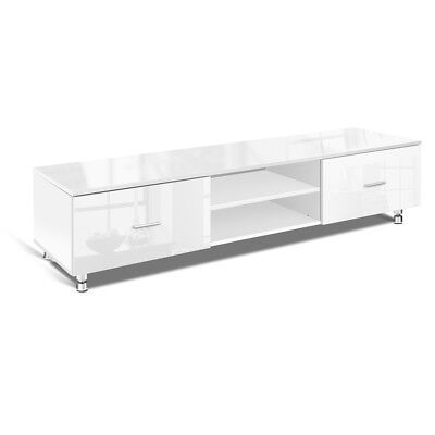 NEW Modern High Gloss Home Entertainment TV Stand Display Unit 160cm - White