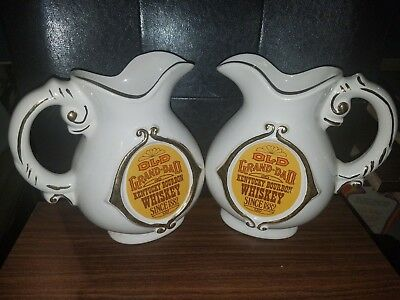 Pair Of Vintage Old Grand Dad Kentucky Bourbon Whiskey Liquor Pitchers Jugs