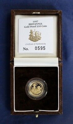 1997 Gold Proof 1/10oz £10 Britannia coin in Case with COA    (F5/1)