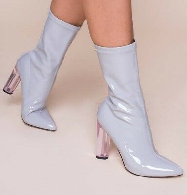 UK Sizes 3-8 Ladies Patent Ankle Boot With Pink Perspex Heel Grey