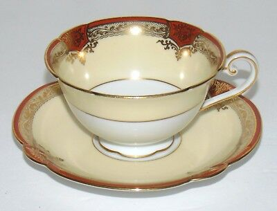 1950's VINTAGE Noritake ROSEOLYN Cup and Saucer set Red and gold