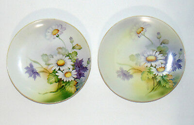 """Set of 2 Vintage Nippon Hand Painted Daisy Flower Bouquet Plate Signed  7.5"""""""