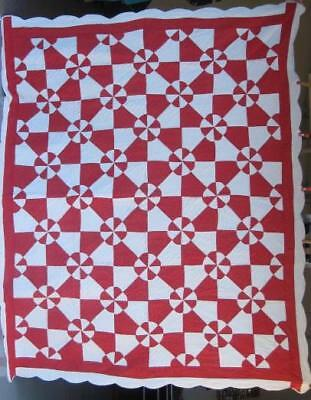 Red And White Antique ' Lovers Knot' Quilt With Borders & Scalloped Edge  #17687